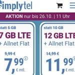 Simplytel 4 GB Allnet Flat für 5,99€ | 7 GB Flat für 7,99€ | 12 GB Flat für 11,99€