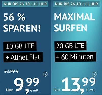 10 GB Flat für 9,99€ | 20 GB + 60 Freiminuten für 13,99€ | ohne Laufzeit