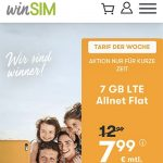 winSIM 7 GB Allnet Flat für 7,99€ | 11 GB Flat für 11,11€