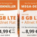 8 GB Allnet Flat für 8,99€ | 16 GB Allnet Flat für 14,99€