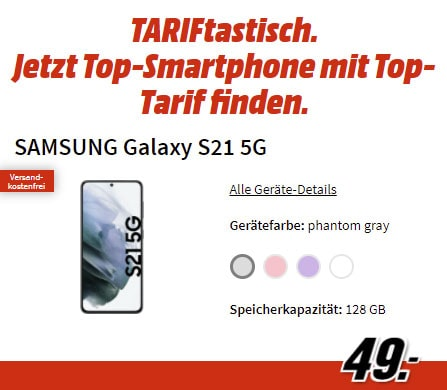 Samsung Galaxy S21 für 49€ mit 12 GB o2 Vertrag für 19,99€